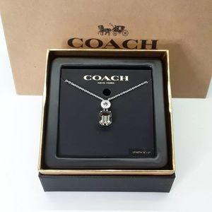 "COACH Emerald Cut Silver / Black Necklace 16""-18"""